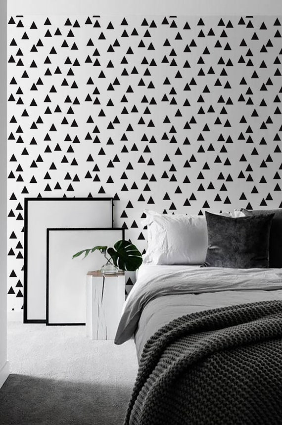 Triangle Removable Wallpaper Geometric Decal Black And White Temporary Self Adhesive Sticker Minimalist Decor Peel Stick Wall Mural Cover