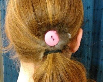Real fur hair clip