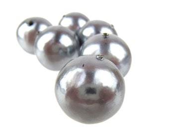 20mm Cotton Pearl, Silver, 4 pcs