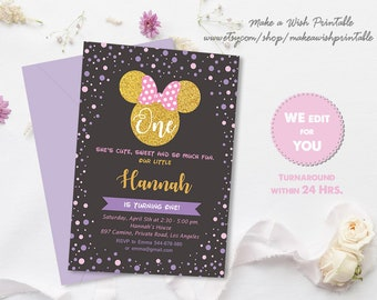 Pink Gold Minnie Mouse Birthday Invitation Polka Dot First Etsy