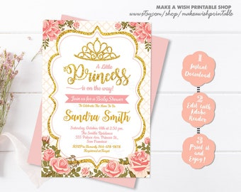 Baby shower invitation girl etsy pink and gold princess baby shower invitation girl baby shower princess crown digital invitation gold glitter invitation editable us03 filmwisefo