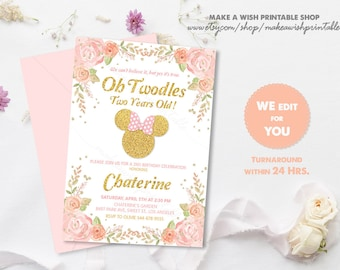 Minnie 2nd Birthday Invite Pink And Gold Mouse Invitation Invites Floral Oh Twodles Second CS484