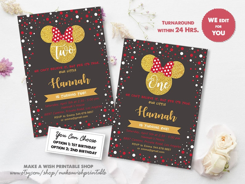 Red And Black Minnie Mouse Invitation 1st Birthday