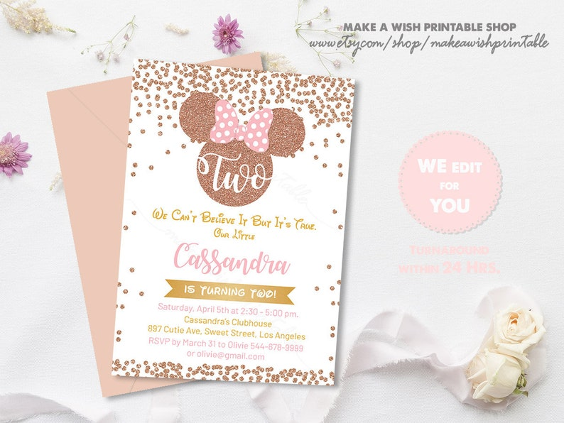 Minnie 2nd Birthday Invitation Rose Gold Mouse