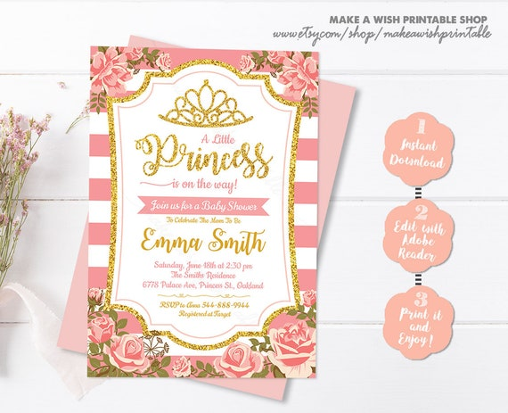 Gold Baby Shower Invitation Template Editable Girl