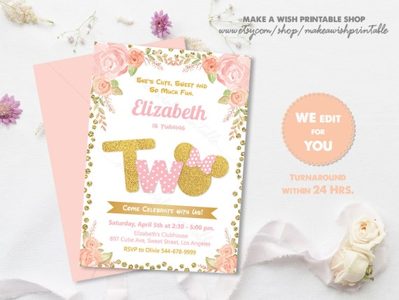 Pink And Gold Minnie Mouse Invitation Birthday Second 2nd Girl Glitter
