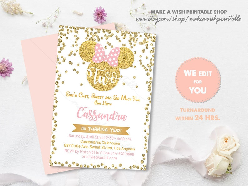 Minnie 2nd Birthday Invitation Gold Confetti Mouse