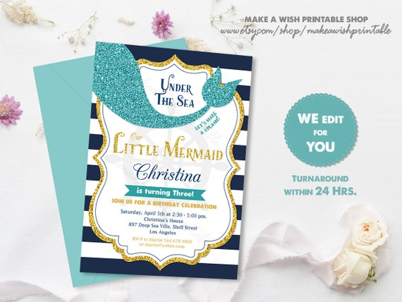 Mermaid Birthday Invitation Little First Invite Under The Sea Party Girl Glitter Printable
