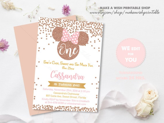 Pink Gold Minnie Mouse Birthday Invitation Polka Dot First Birthday