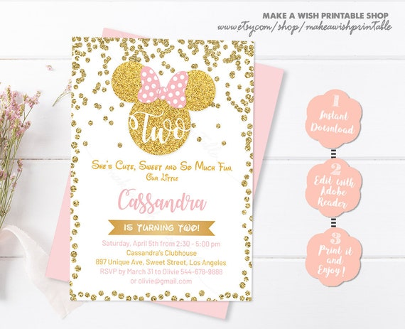 Editable Birthday Invitation Pink And Gold Minnie Mouse Invitations 2nd Second Girl Glitter