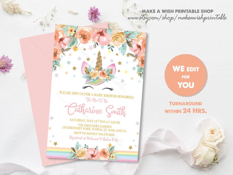 Baby Shower Invitation Girl Unicorn Floral Unicorn Etsy