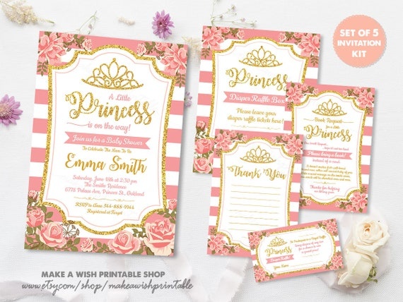 Baby Shower Invitation Girl Pink And Gold Princess Baby Shower