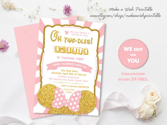 Minnie Mouse 2nd Birthday Invitation Pink And Gold Oh Twodles Printable Second Girl