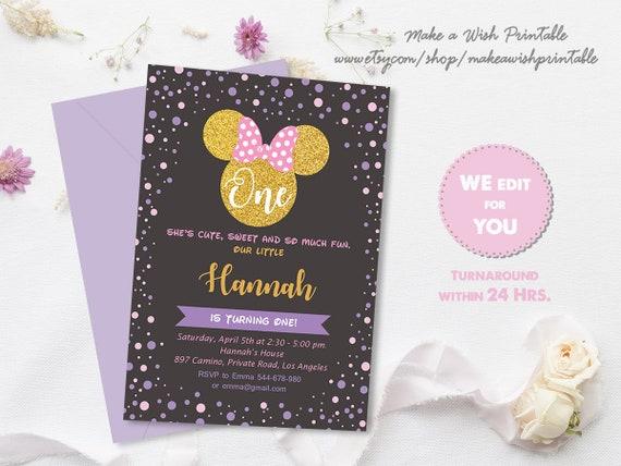 Pink and Black Minnie Mouse Invitation, Minnie Birthday Invitation, Minnie 1st Birthday Invite, 1st Birthday Girl, First Birthday Invitation