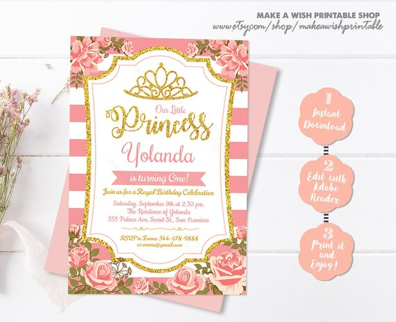 Pink And Gold Princess Birthday Invitation Floral