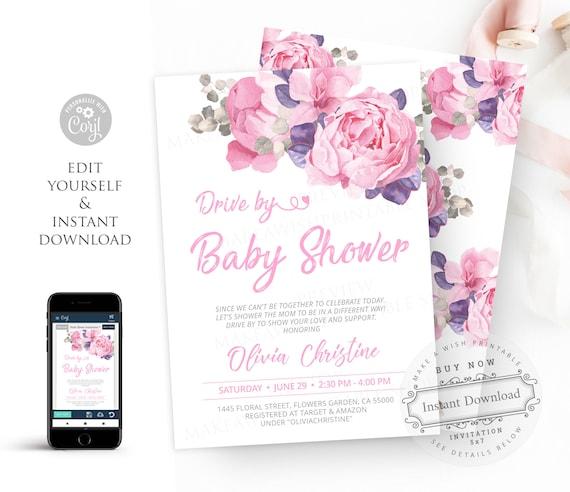 Baby shower invitation template Purple Baby shower invitation Floral Baby Shower Girl Lilac shower Editable baby shower invitation