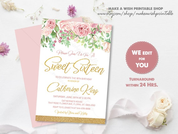 Sweet 16 Invitation Printable Sweet 16 Invitation Pink And Gold