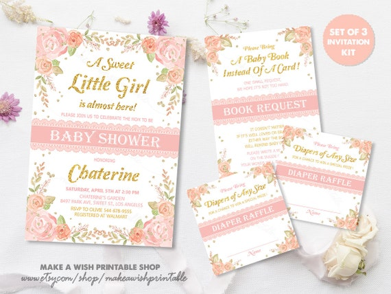 Unique Baby Shower Invitations Blush Pink Floral Baby