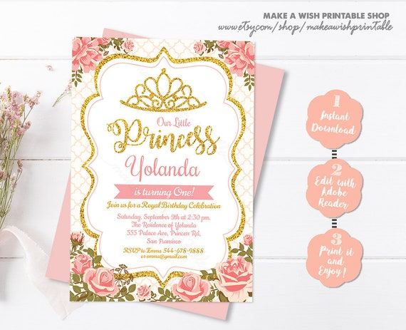 Princess Birthday Invitation Girl Template Instant Download 1st 2nd Or Any Age Printable Party