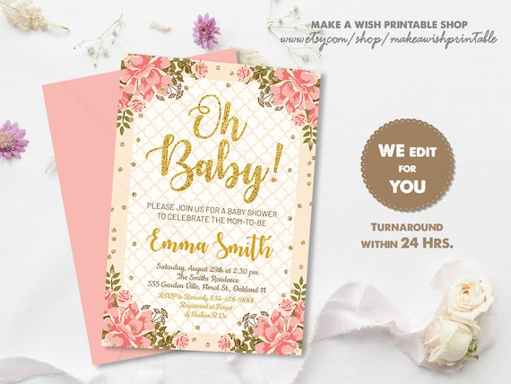 Pink And Gold Baby Shower Invitations Gold Glitter Girl Baby Shower