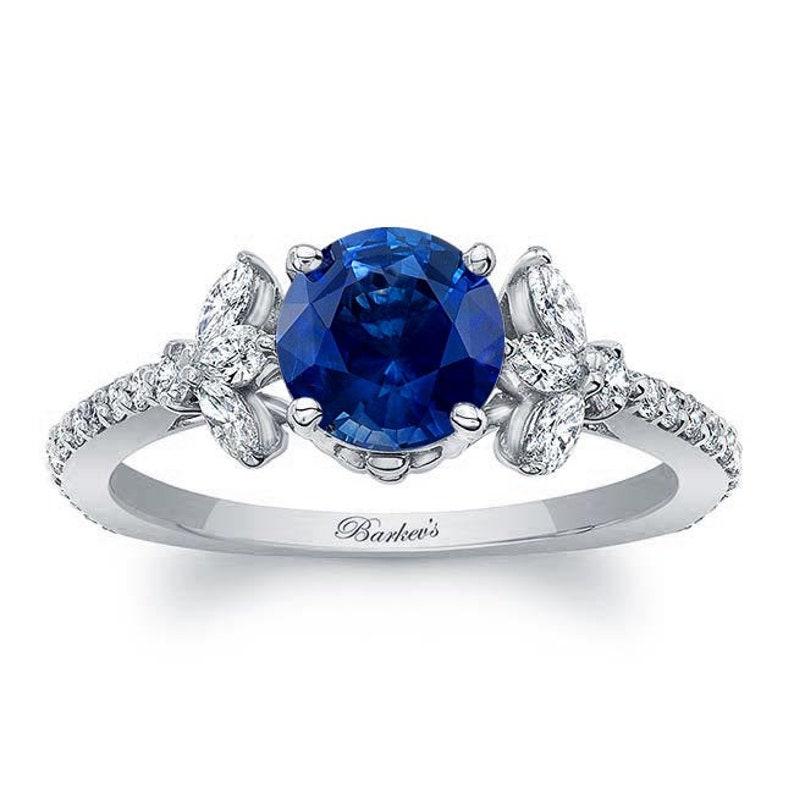 dd361ffa8 Barkevs White Gold Blue Sapphire & Diamond Engagement Ring   Etsy