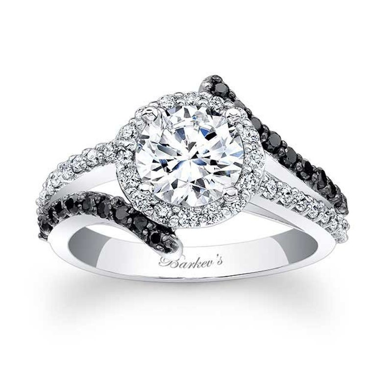 c956771b6257f Barkevs Unique Black Diamond Halo Engagement Ring, Forever One Moissanite  Engagement, Available with Diamond or Moissanite Center, 7857LBK