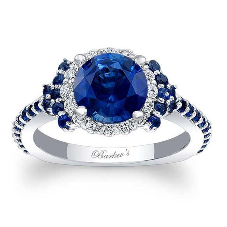 f2fe2d6f7 Barkevs Unique White Gold Blue Sapphire and Diamond Halo   Etsy