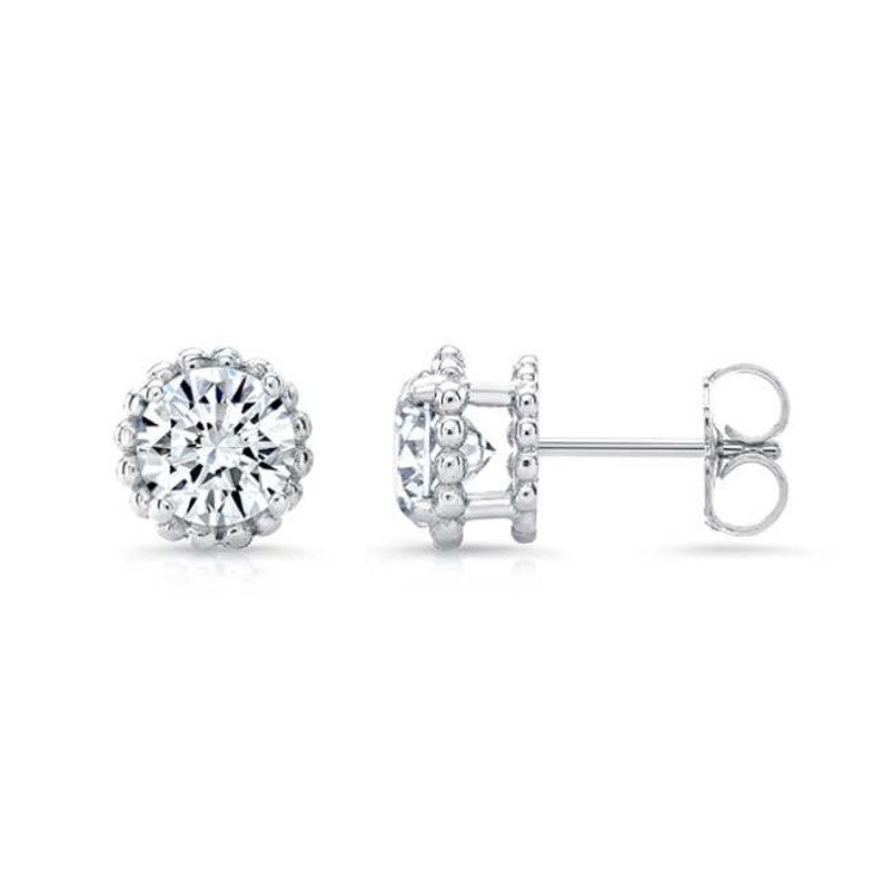 Barkevs 1.00cttw. Unique White Gold Diamond Stud Earrings  584e5f302a