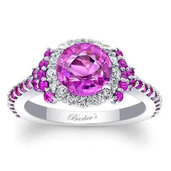 321392b96 Barkevs Unique Pink Sapphire & Diamond Halo Engagement Ring   Etsy
