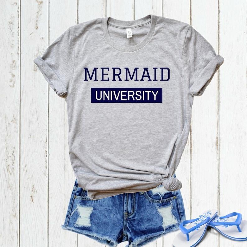 5521535ce Mermaid Shirt Mermaid Academy T-Shirt Ladies Beach T-shirt | Etsy