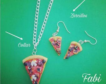 Necklace and Pizza Earrings set