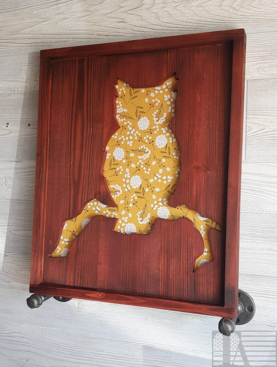 Owl Cutout with Replaceable Fabric Background