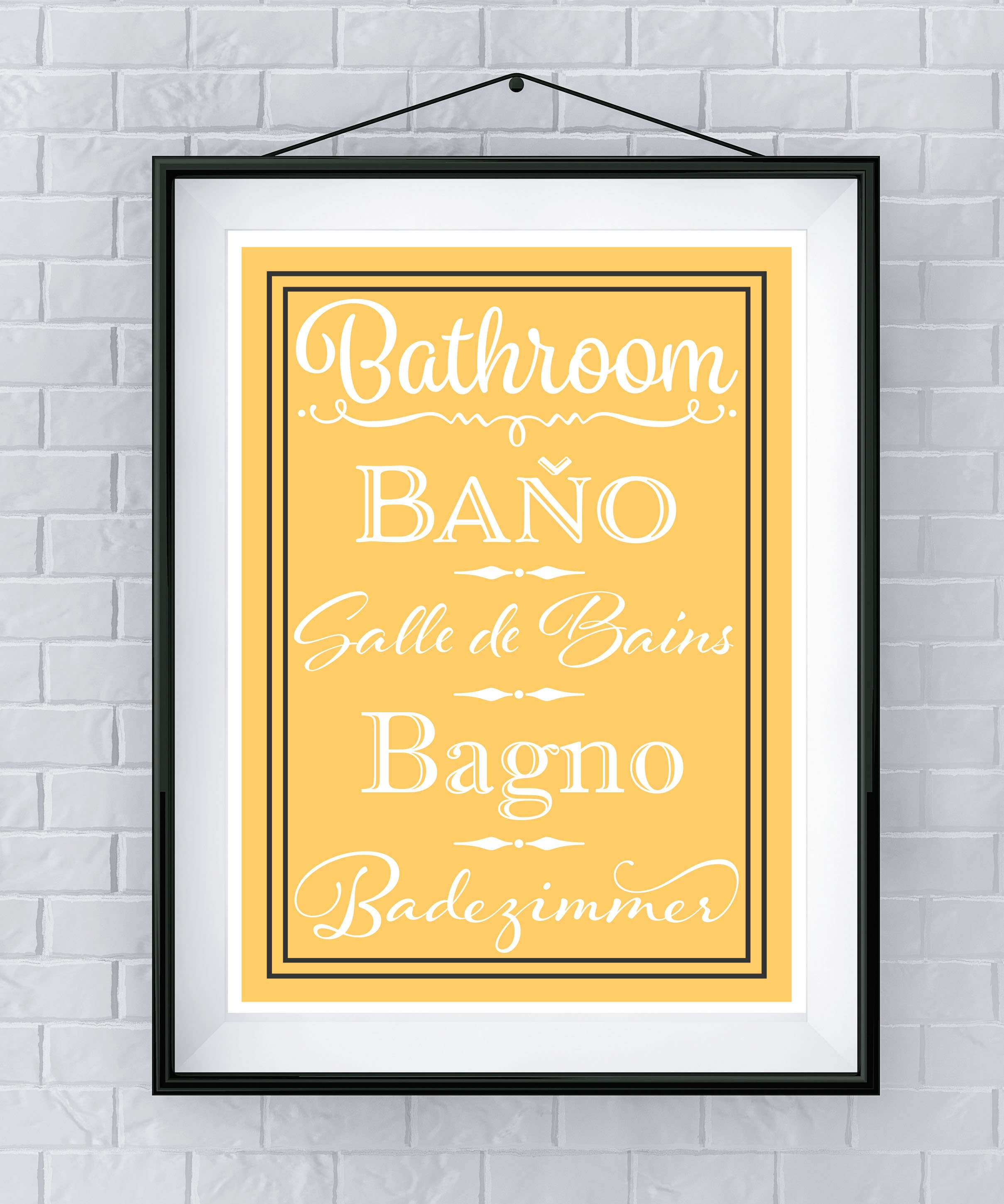 Bathroom Art / Languages - Multiple Colors Available FREE SHIPPING