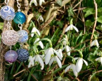 Unique Multicolour Gemstone Crochet Earrings