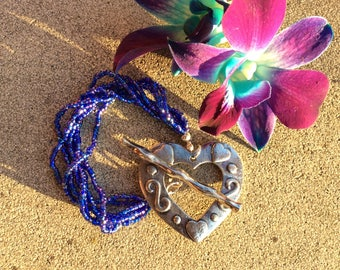 Blue Bead Bracelet with a Silver Statement Closure