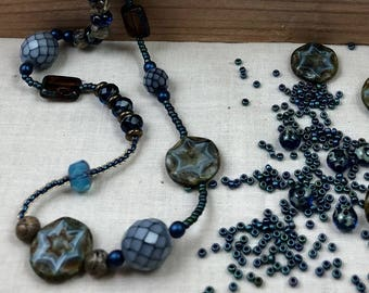 Hand beaded blue and brown necklace