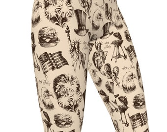 July 4th, Vintage Drawings, High Waist Women's Yoga Leggings