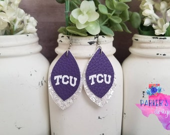 Purple White Leather Earrings - purple white jewelry accessories gameday tcu texas christian horned frogs