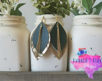 Green Gold Leaf Earrings - faux leather green gold earrings leaf layered chains