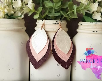 Feathered Leather Earrings - white blush pink burgundy maroon fringe feather leaf faux leather layered earrings