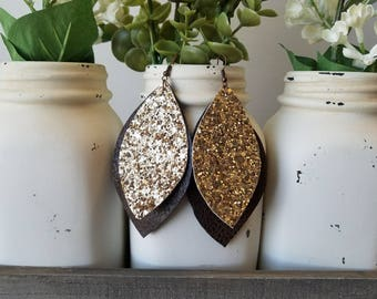 Brown Gold Earrings - faux leather glitter canvas gold earrings leaf layered
