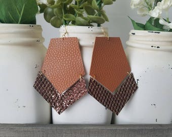Brown Leather Earrings - faux leather glitter canvas gold earrings leaf layered