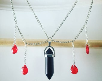 Double chain Choker, with hanging black and red gems