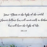 """Hand Made Christian Bible Quote Wood Sign / 20"""" x 11"""" / John 8:12 Jesus Christ Light of the World / Religious Scripture Verse Wall Hanging"""