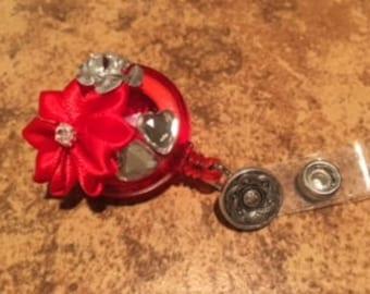 Red Valentine ID Badge Reel