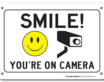 photograph about Smile You Re on Camera Sign Printable titled Smile Youre Upon Digital camera Indicator Community Down below Online video Surveillance Etsy