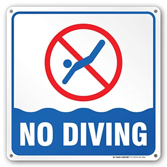 Swimming Pool Safety Rules No Diving Laminated Sign -12\