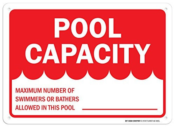 "Pool Capacity Sign .040 Rust Free Aluminum 10/""x14/"""