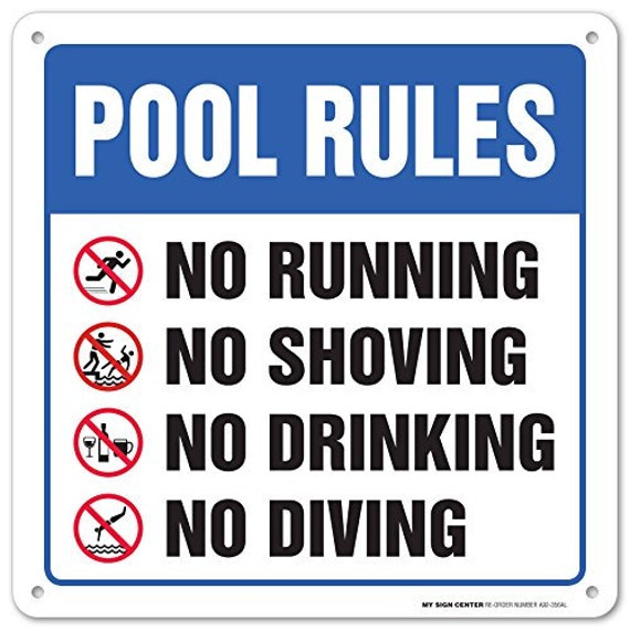 Swimming Pool Safety Rules Laminated Sign - Pool Rules Warning Sign 12\