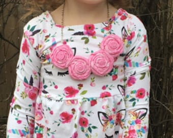 Pink Rosette Necklace